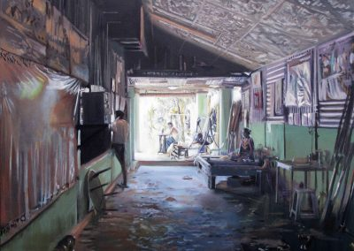 L'atelier d'ombres - 2009 • Oil on canvas • 140 x 140 cm