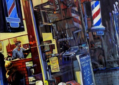 Hotel Barbershop - June. 2012 • Oil on canvas • 100 x 100 cm