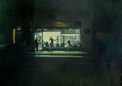 Late Open Barbershop - June. 2012 • Oil on canvas • 100 x 80 cm