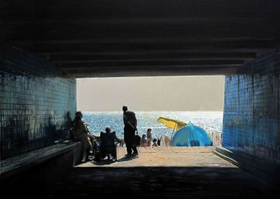 Porto Yellow Umbrella - Oct. 2011 • Oil on canvas • 162 x 130 cm