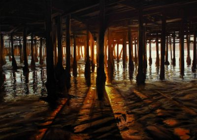 Sunset Pier - 2011 • Oil on canvas • 195 x 140 cm